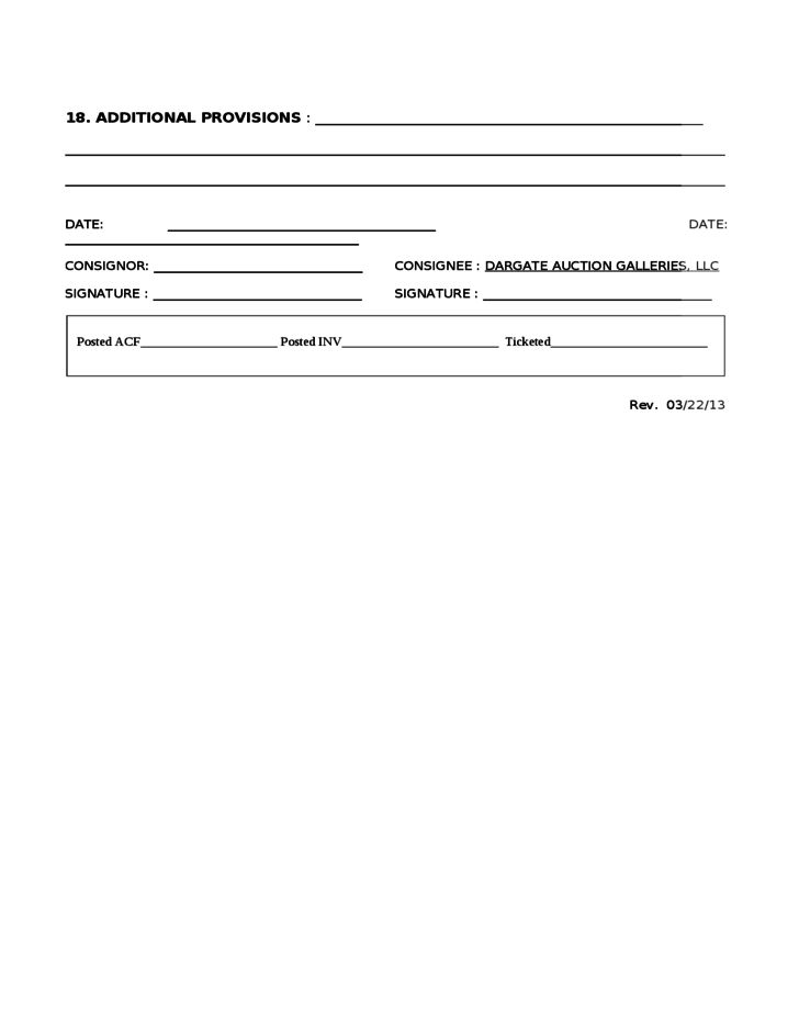 CONSIGNMENT AGREEMENT - Dargate Auction Galleries Free Download