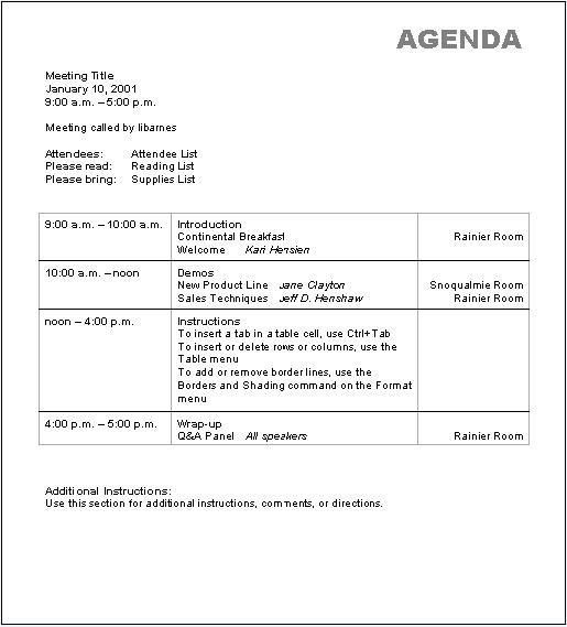 Basic Agenda Template Sample for Your Office : Helloalive