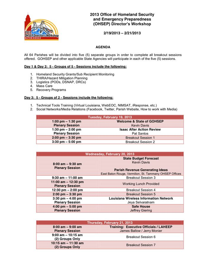 Conference agenda template in Word and Pdf formats