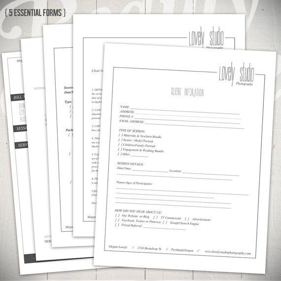 Photography Forms - 5 Essential Contracts and Order Form Templates ...