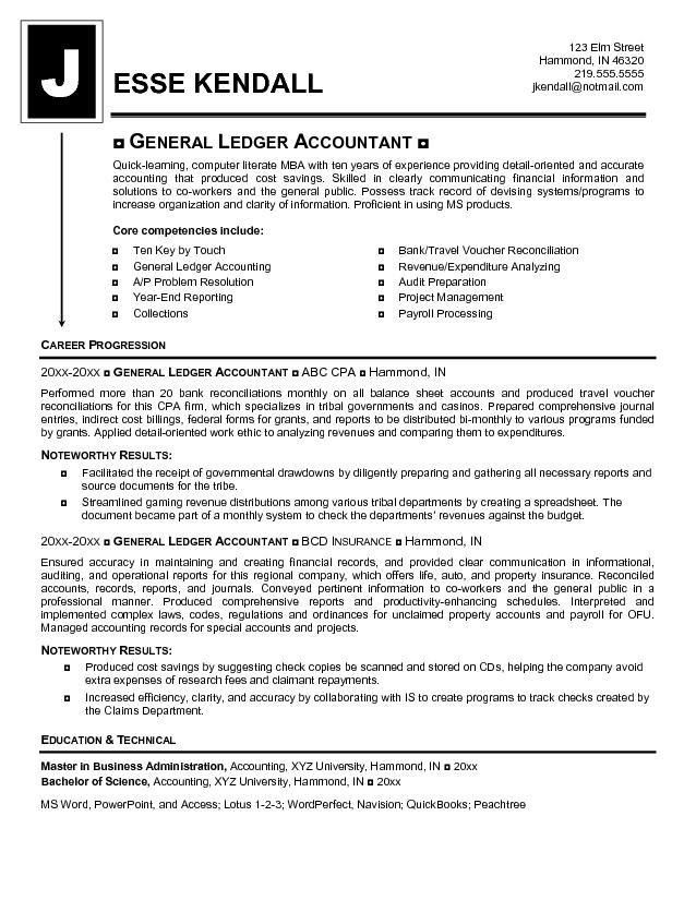 Example General Ledger Accountant Resume - Free Sample