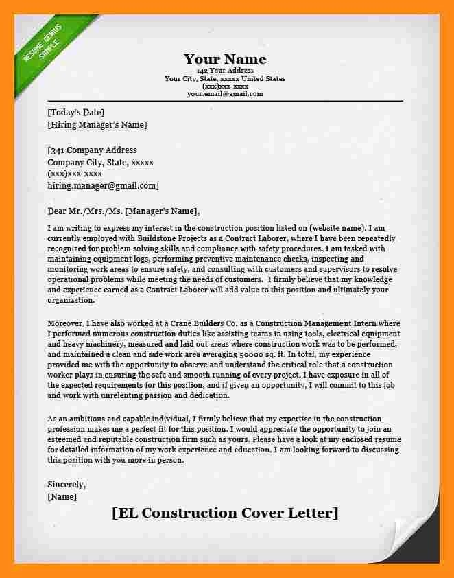 6+ construction cover letter | actor resumed