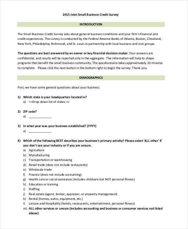 29+ Survey Questionnaire Examples
