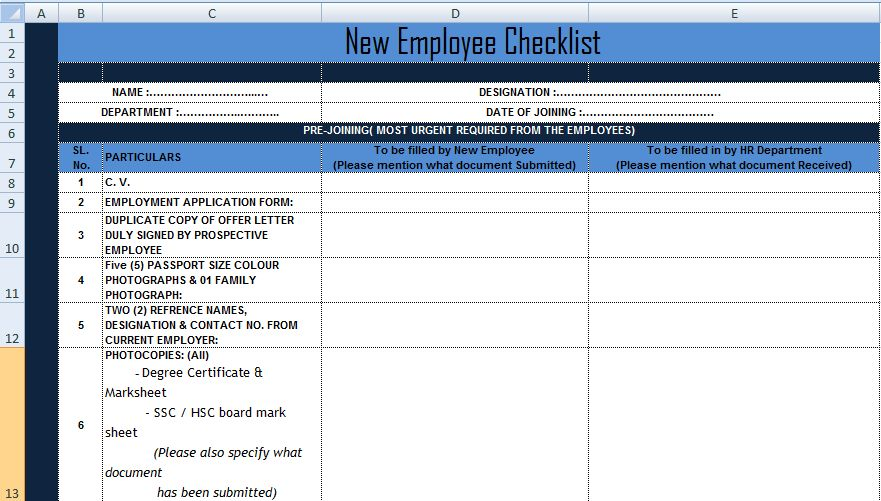 New Employee Checklist Excel Template xls - Project Management ...