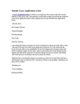 Sample Leave Application Letter by Stephen Wash - issuu