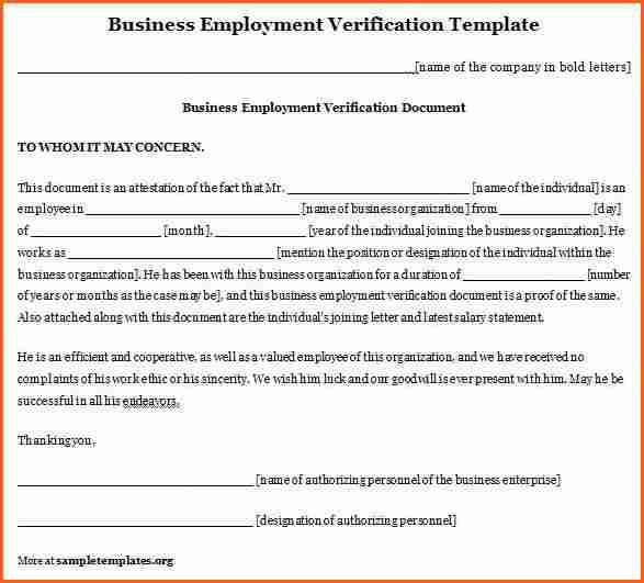 7+ employment verification letter template - Budget Template Letter