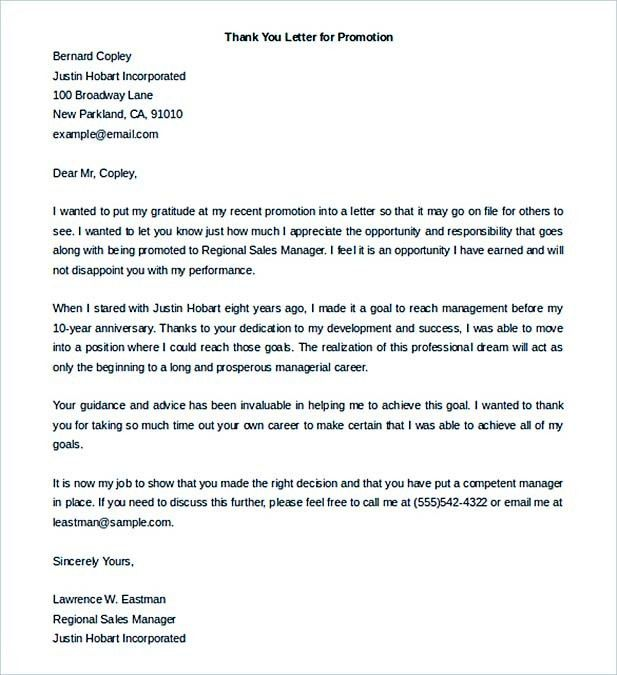 Thank You Letter For Promotion. Promotioninterviewtips . Gallery