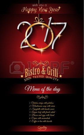 2017 Happy New Year Restaurant Menu Template Background For ...