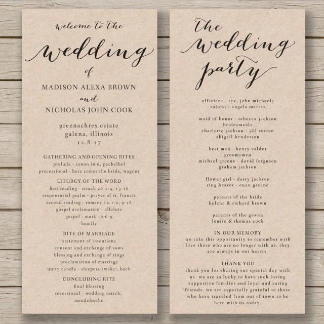 Wedding Program Template - Printable Wedding Program - DIY ...