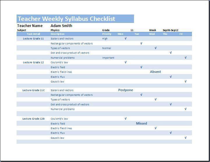 teacher checklist template - Template