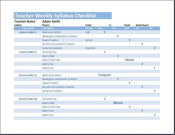 Weekly Checklist. 10+ Weekly Checklist Template 10+ Weekly ...