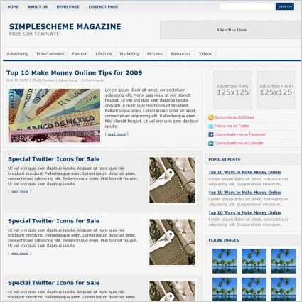 Simple Scheme Magazine Template Free website templates in css ...
