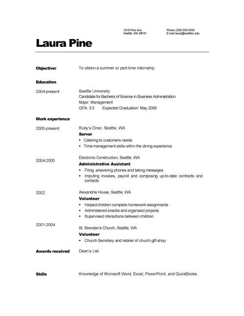 Simple Resume Layout | berathen.Com