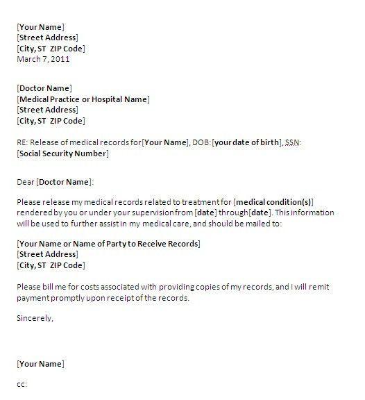 release medical records letter