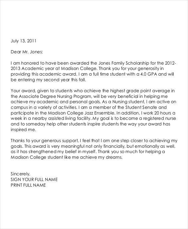 Scholarship Thank You Letter. Sample Scholarship Recipient Letter ...