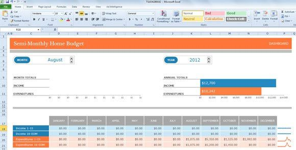 Monthly Budget Template for Excel 2013