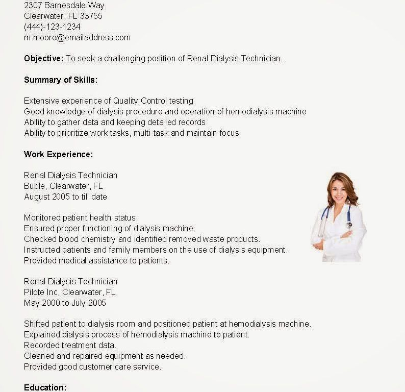 Download Dialysis Technician Resume | haadyaooverbayresort.com