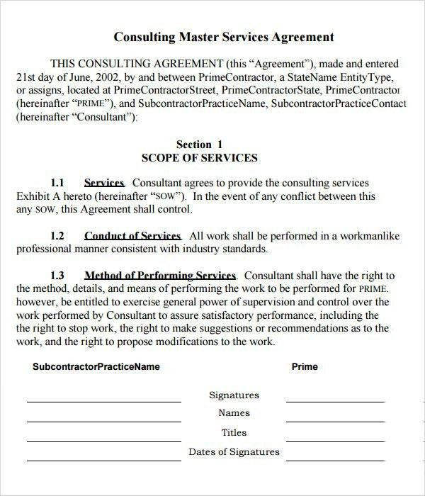 Master Services Agreement Template | Template Idea