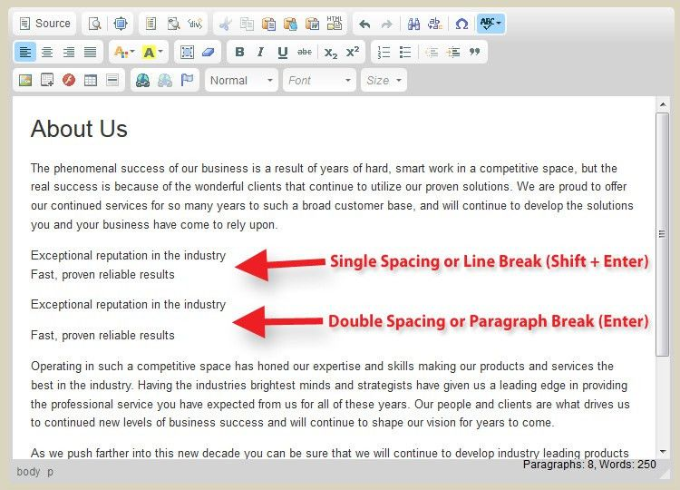 Single And Double Spacing Your Website Text - Knowledgebase ...
