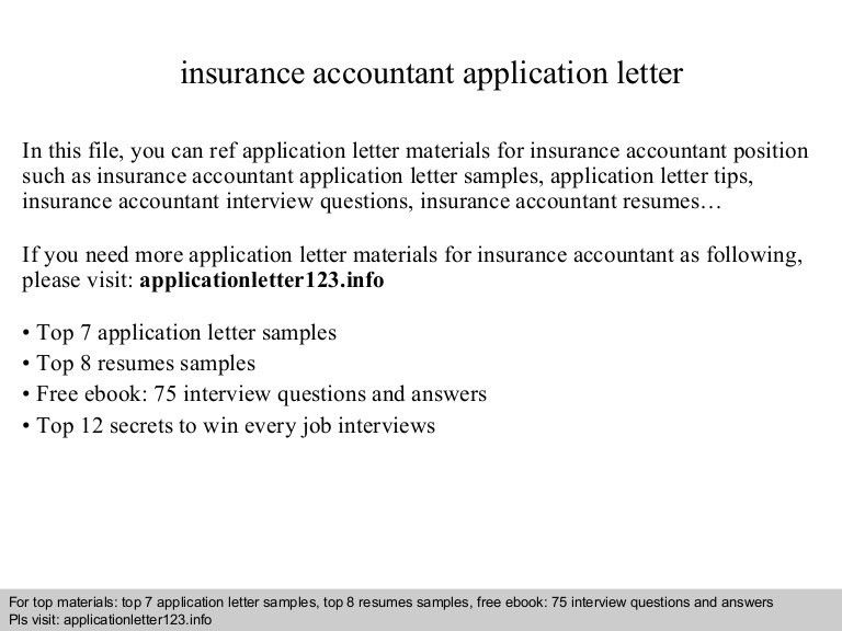 Insurance accountant application letter