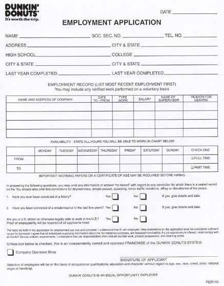 Dunkin' Donuts Job Application Form | Printable Job Application
