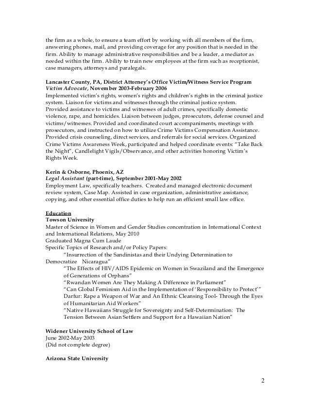 Litigation Paralegal CV