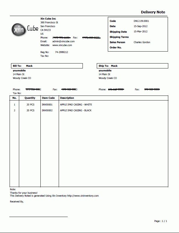 Delivery Note Template, Sample Delivery Note, Delivery Note