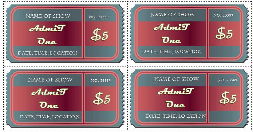 6 Ticket Templates for Word to Design your Own Free Tickets