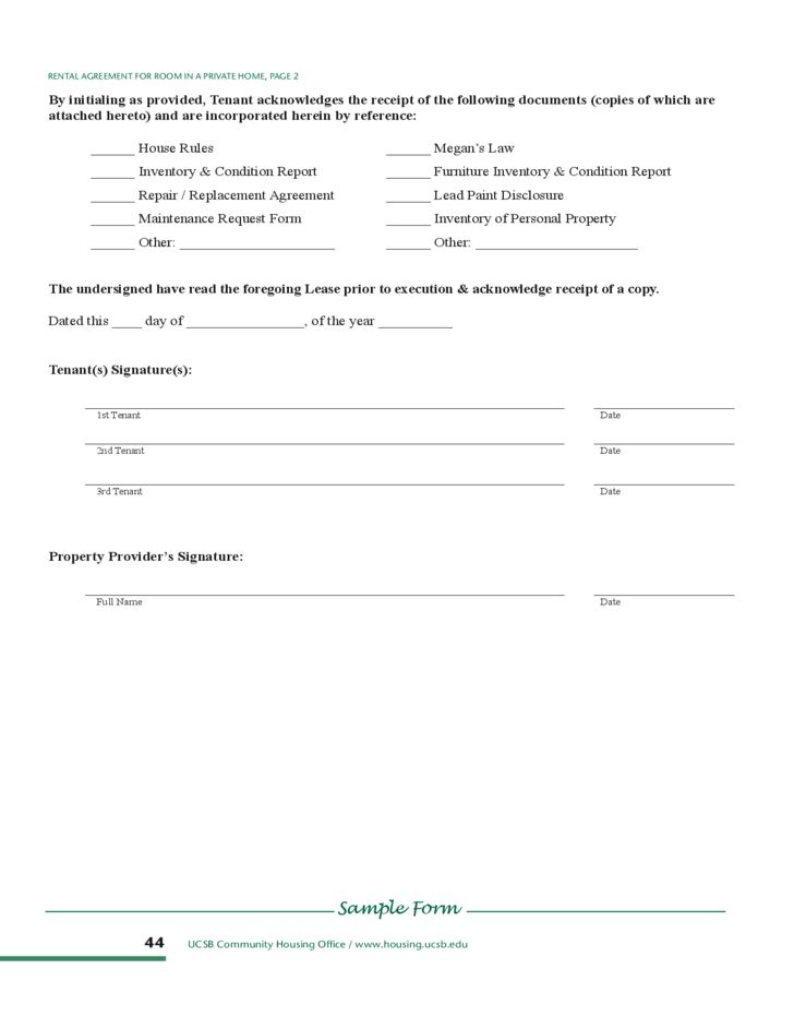 Room Rental Lease Template Free Download