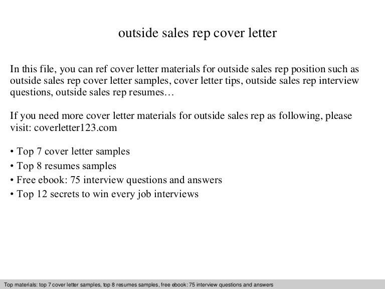 Outside sales rep cover letter