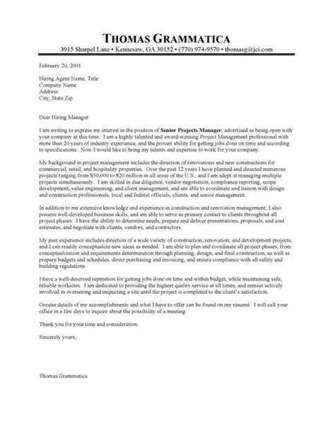 construction management cover letter sample Source: