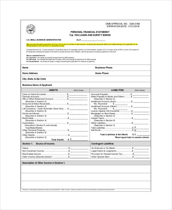 Sample Personal Financial Statement - 9+ Examples in PDF, Word, Excel