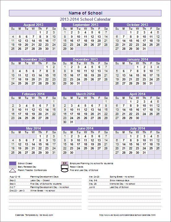 School Calendar Template - 2017-2018 School Year Calendar