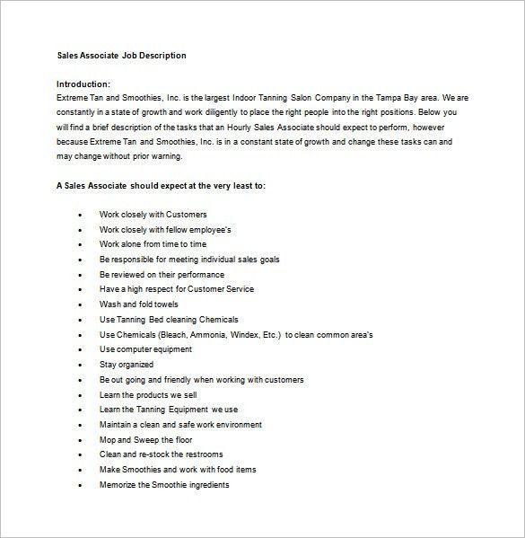 Sales Associate Job Description Template – 8+ Free Word, PDF ...