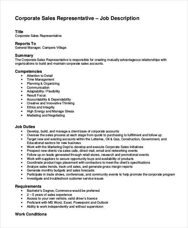 Sales Job Description - 11+ Free Sample, Example, Format | Free ...