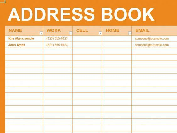 Free Excel Template - Personal address book | Business & Office ...