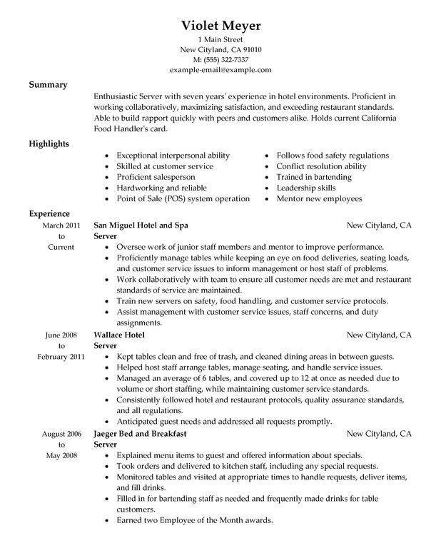 fine dining server resume sample waitress resume sample