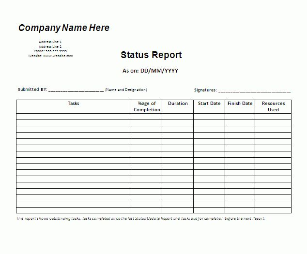 Status Report Template | Download It Free