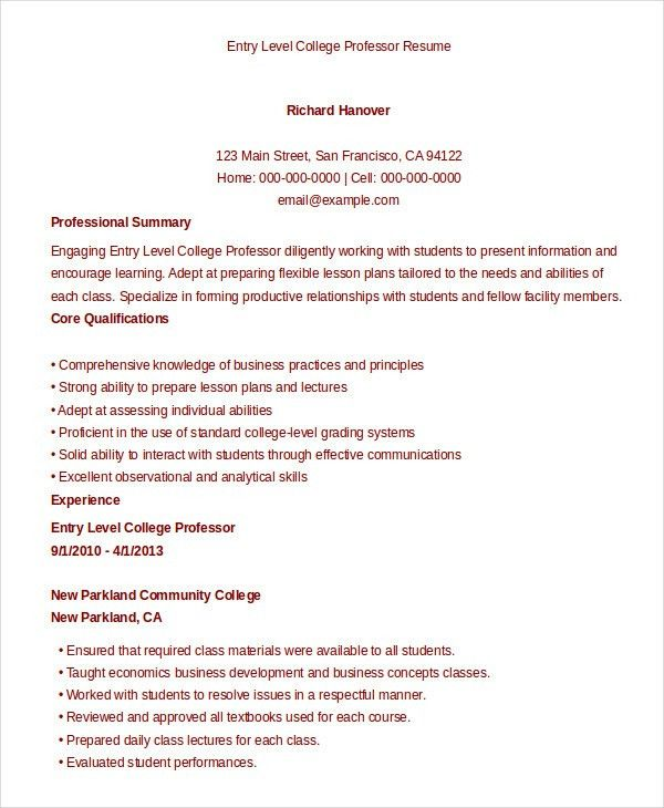 sample resume for college professor professional entry level