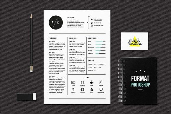 Check out CV, Resume template Photoshop by MéméDansLesOrties on ...