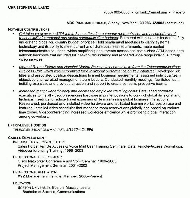 Manager Telecommunications Resume - Manager Telecommunications ...
