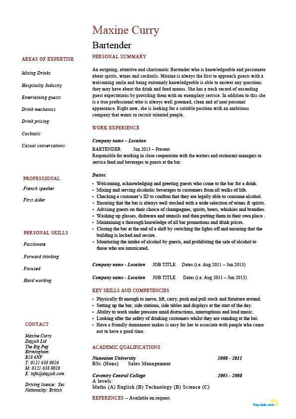Amazing Idea Bartender Resume Templates 2 Free Bartender Resume ...