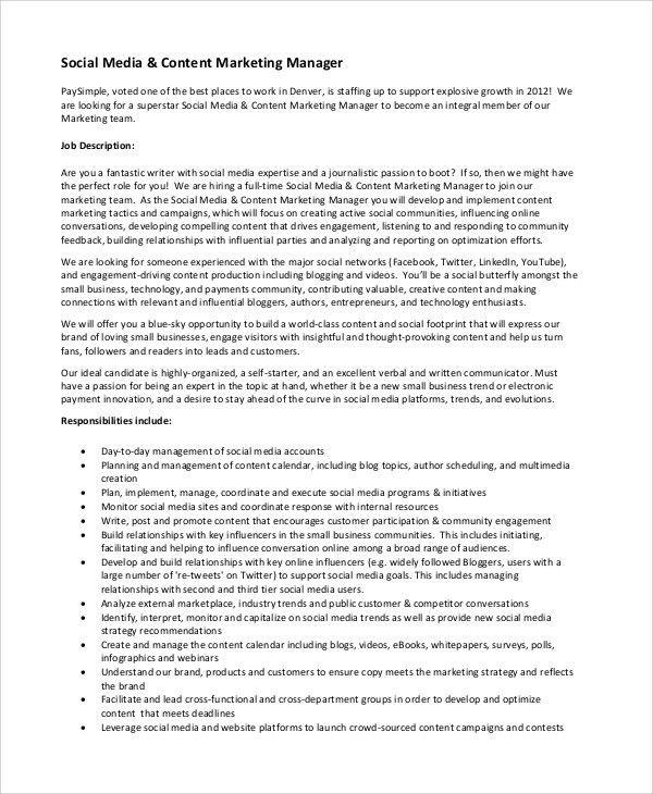 Sample Social Media Manager Job Description - 10+ Examples in PDF ...