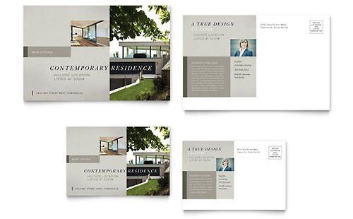 Contemporary Residence Postcard Template Design