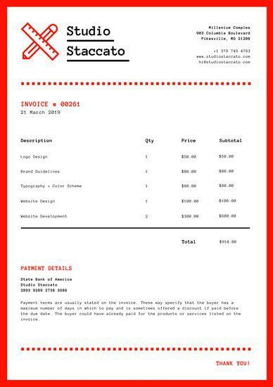 Red and White Modern Design Invoice Letterhead - Templates by Canva