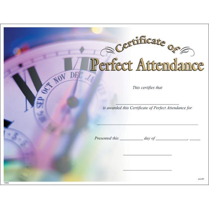 Perfect Attendance Certificate - Jones School Supply