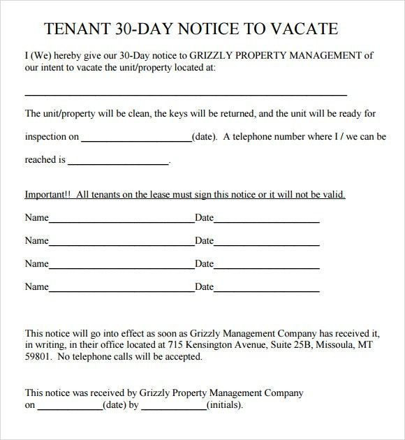 2017 30 day vacate notice letter sample. texas lease termination ...