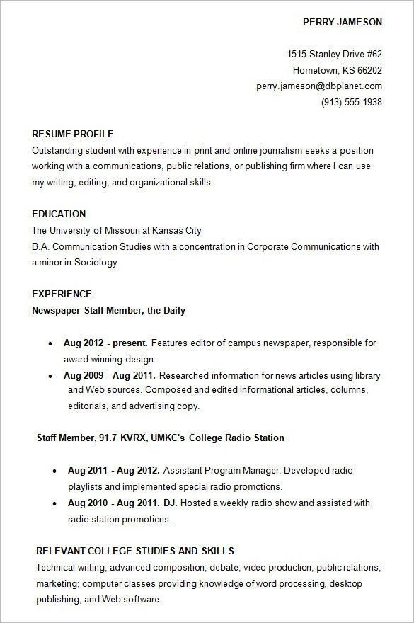 Resume Examples College Students. 15 Fascinating Sample Resumes ...