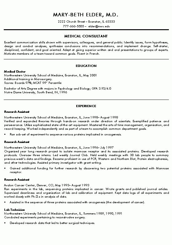 Medical Doctor Resume Example | Resume examples and Resume format