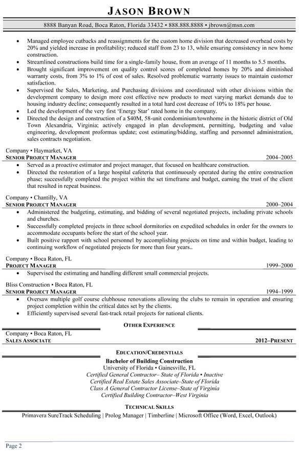 sample resume resume sle assistant construction project manager ...